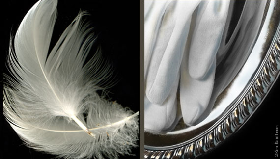 Studio photographer Kim Kauffman compares a B&W still life photograph of feathers to a B&W photograph of white gloves on a silver platter in Duet Thirteen